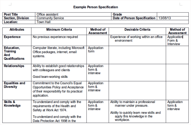 Example Person Specification - your guide to getting an interview